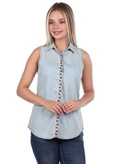 BLUE WHİTE Kadın Kolsuz Jean Gömlek